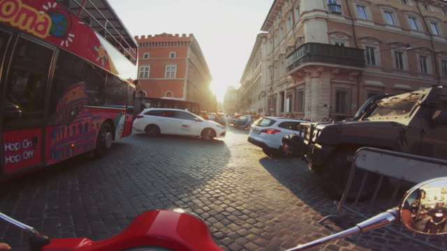 pov scooter riding in rome - motor scooter stock videos & royalty-free footage