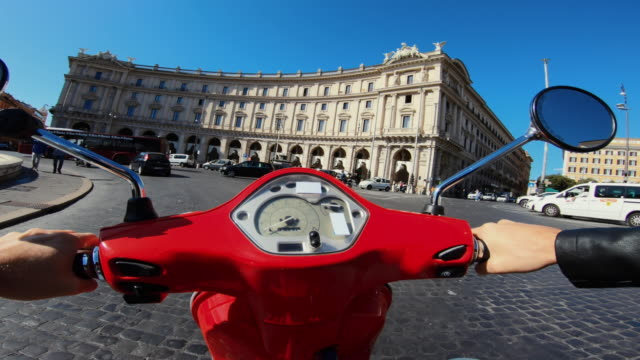pov scooter riding: on the motorbike in the center of rome - scooter stock videos & royalty-free footage