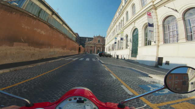 POV scooter riding: on the motorbike in Trastevere, Rome