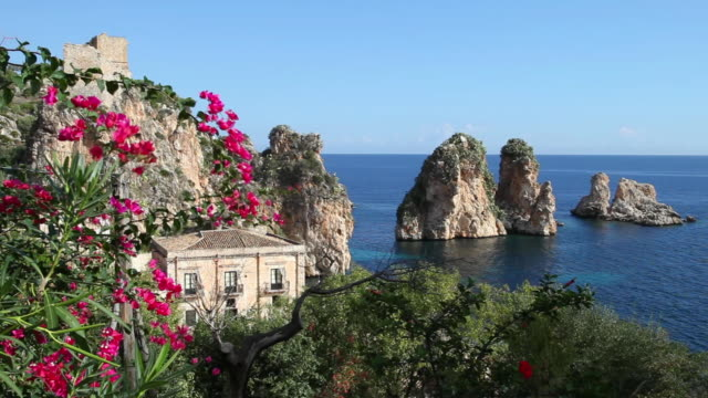 Scopello (old tuna processing factory) and the rocks in the Mediterrenean