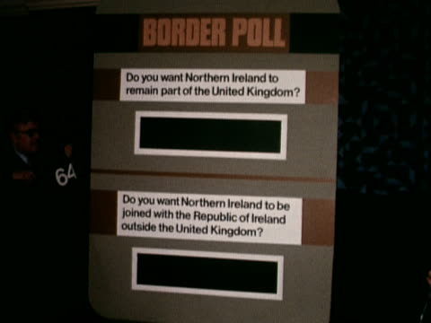 a score board displays the results of the northern irish referendum vote on whether they should remain part of the united kingdom 09 september 1973 - 1973 stock videos & royalty-free footage