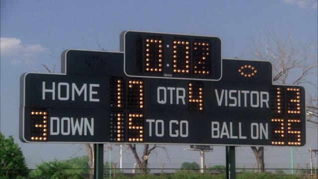 ms scoreboard on football match - scoreboard stock videos & royalty-free footage