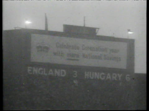 Scoreboard shows 'England 3 Hungary 6' this was England's first home defeat to side from outside British Isles England vs Hungary International...