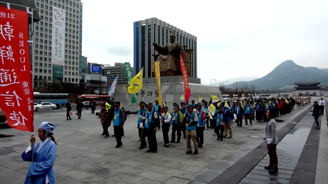 scores of citizens from south korea and japan on wednesday april 1 kicked off a friendship walk from seoul to busan as part of a journey to trace the... - diplomacy stock videos & royalty-free footage