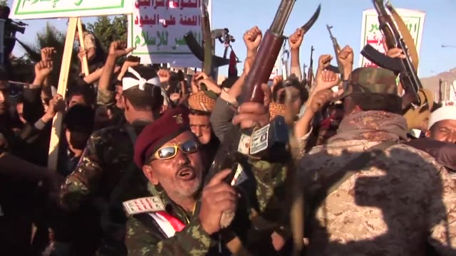 scores of shiite huthi supporters took to the streets of sanaa on saturday to protest against the saudi coalitions intervention and celebrate ashura... - shi'ite islam stock videos & royalty-free footage
