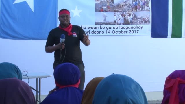 Scores of Somali residents in South Africa on October 18 2017 staged a protest against a truck bombing which killed more than 300 people in Somalia's...