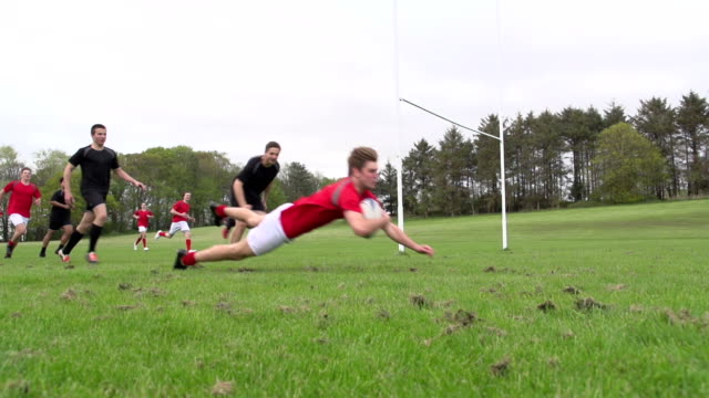 Scoring a try in Rugby match (Sport) Super Slow Motion
