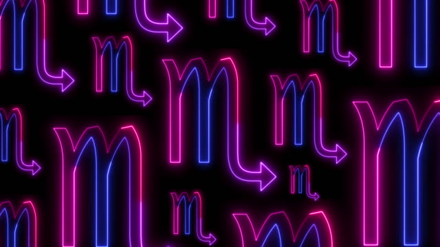 scorpio zodiac sign in neon light stile. the background consists of the icons of the astrological sign - segni zodiacali video stock e b–roll