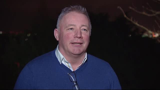 scotland beat serbia to reach euro 2020; scotland: ext / night ally mccoist interview sot - ally mccoist stock videos & royalty-free footage