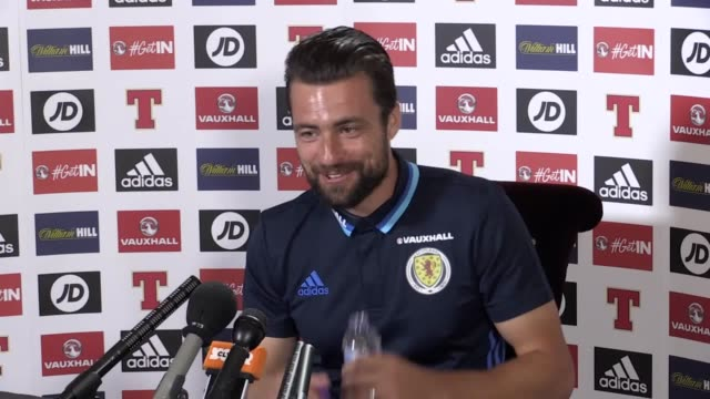 scotland defender russell martin speaks ahead of match against lithuania includes shots from training session - ゴードン ストラハン点の映像素材/bロール
