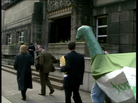 EEC elections Edinburgh Green Party workers towards leading line of others dressed in costume as the Loch Ness monster / sign on side of monster 'For...