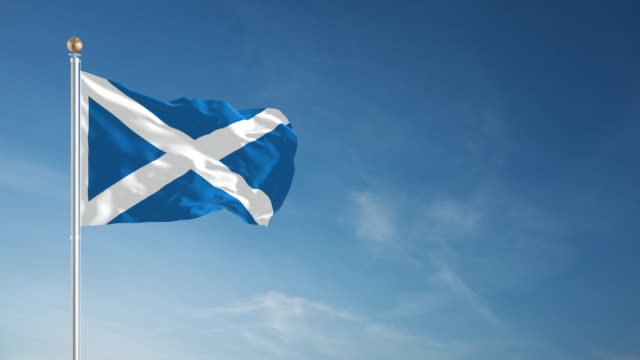scotland flag - loopable - flag blowing in the wind stock videos & royalty-free footage
