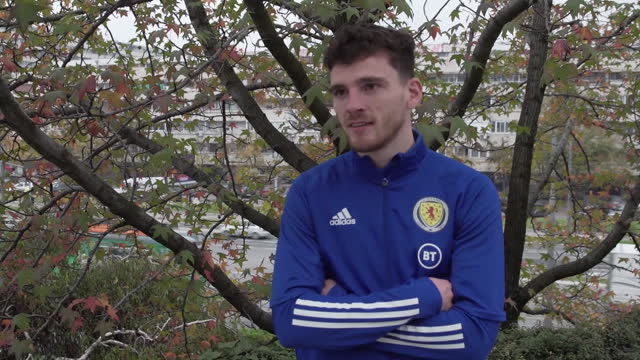 """scotland footballer andy robertson saying """"if we can keep covid out of the press for a day then we've done our jobs"""" after the team qualified for... - fernsehserie stock-videos und b-roll-filmmaterial"""