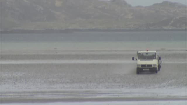 General views of Barra Airport SCOTLAND Outer Hebrides Barra EXT General views of Barra Airport operations including control tower wind sock local...