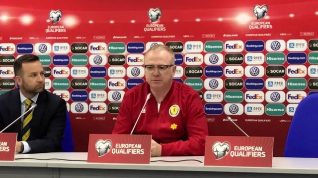 Scotland manager Alex McLeish at media conference in Astana ahead of his team's Euro 2020 qualifier against Kazakhstan