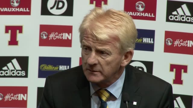 scotland manager gordon strachan is happy that his side have a chance of a world cup play off spot after wins against lithuania and malta scotland... - ゴードン ストラハン点の映像素材/bロール
