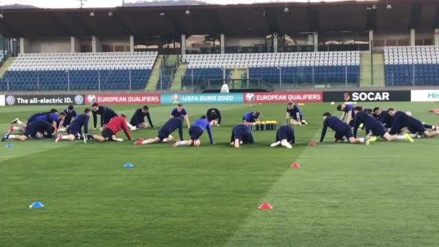 Scotland players train ahead of their Euro 2020 qualifier against San Marino