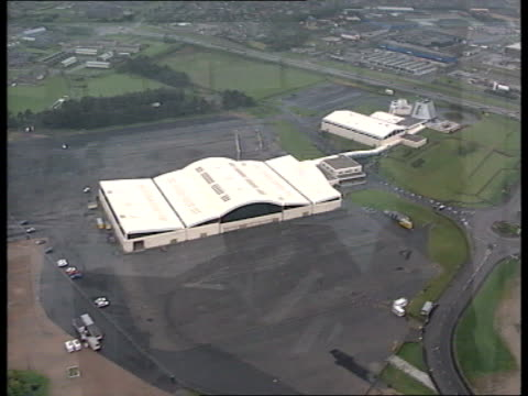 Tory Party Conference Inflation reaction SCOTLAND Aberdeen Air view over conf centre as organ music heard over Woman playing organ in conf centre...