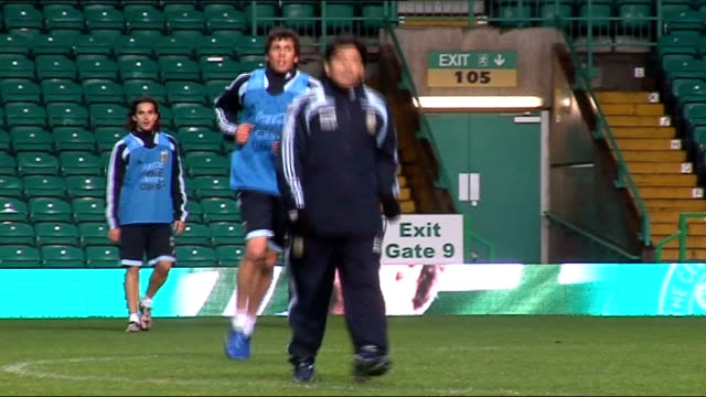Glasgow PHOTOGRAPHY *** Diego Maradona emerging from tunnel ENDS Maradona on pitch as training with Argentinian footballers