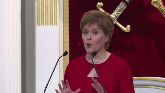 scotland will continue to look outwards regardless of brexit says first minister nicola sturgeon at a burns night celebratory dinner with the lord... - lord mayor of london city of london stock videos & royalty-free footage