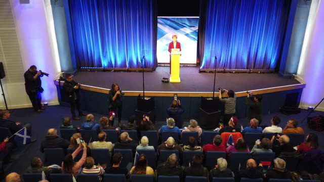 vídeos y material grabado en eventos de stock de scotland's first minister and snp leader nicola sturgeon delivers a st andrew's day speech to party activists in the north east fife constituency... - distrito electoral