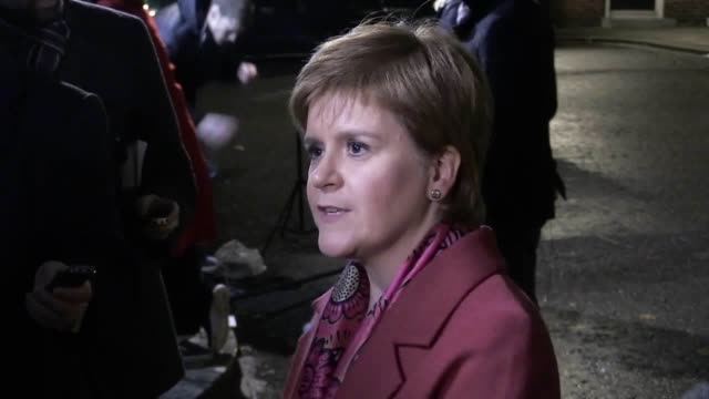 scotland's first minister nicola sturgeon speaks to the media outside 10 downing street, london, after attending a joint ministerial committee... - nicola sturgeon stock videos & royalty-free footage