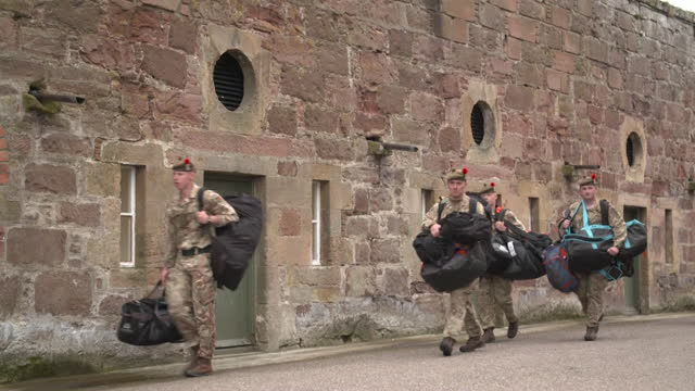 scots soldiers at fort george base in inverness, packed up and prepared to go to kabul, if needed, to help with evacuation effort after taliban... - effort stock videos & royalty-free footage
