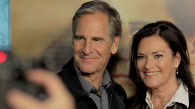 scott bakula and wife chelsea field posing for paparazzi along the red carpet at paramount studios - paramount studios stock videos and b-roll footage