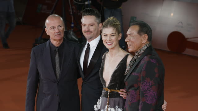 scott cooper rosamund pike wes studi at 'hostiles' red carpet rome film fest on october 26 2017 in rome italy - rome film fest stock videos and b-roll footage