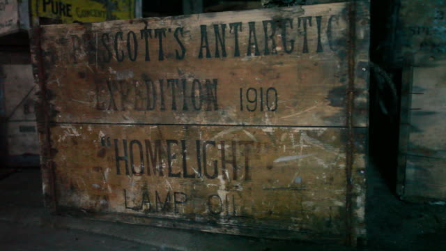 Scott expedition name on side of large box in Discovery Hut, Ross Island, Antarctica