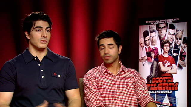'scott pilgrim vs the world' interviews interview with brandon routh and satya bhabha sot on attraction of michael cera on his character in film /... - brandon routh bildbanksvideor och videomaterial från bakom kulisserna