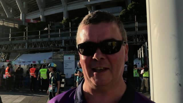 scottish and japanese rugby fans comment on the typhoon and the rugby world cup ahead of scotland v japan in yokohamashi - japan stock videos & royalty-free footage