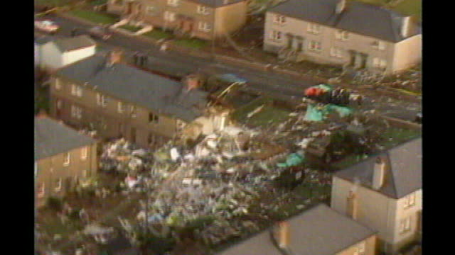 scottish authorities wish to question moussa koussa over lockerbie bombing tx lockerbie ext air views wreckage and cockpit of plane pan am flight 103... - dumfries and galloway stock videos & royalty-free footage