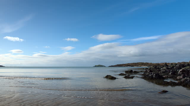scottish beach on a bright spring morning - general view stock videos & royalty-free footage
