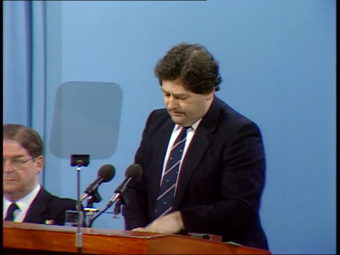 Scottish Conservatives Conference **** FOR SCOTLAND TGV Conference hall Perth MS Chancellor Nigel Lawson takes seat on platform TLMS Nigel Lawson MP...
