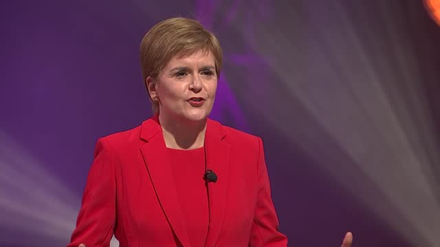 scottish election: c4 scottish leaders debate; scotland: glasgow: the galvanisers: int patrick harvie , anas sarwar , nicola sturgeon , douglas ross... - passion stock videos & royalty-free footage