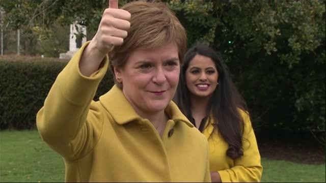 "scottish election: nicola sturgeon tells boris johnson second referendum is case of ""when, not if""; scotland: ext various shots of nicola sturgeon... - channel 4 news stock videos & royalty-free footage"