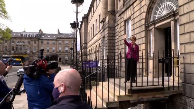 "scottish election: nicola sturgeon tells boris johnson second referendum is case of ""when, not if""; scotland: ext nicola sturgeon msp speaking to... - channel 4 news stock videos & royalty-free footage"