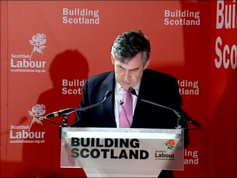 Gordon Brown and Tony Blair speeches Gordon Brown MP along to podium Gordon Brown MP speech SOT What a pleasure it is to be in Glasgow / Jack has...