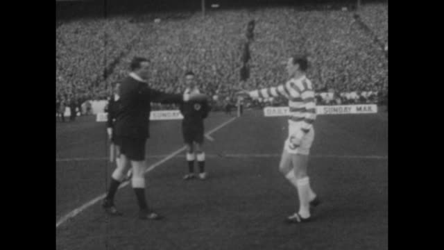 scottish fa cup final at hampden park in glasgow celtic 0 v rangers 0 the coin toss with referee tiny wharton between rangers captain john greig and... - sports team stock videos & royalty-free footage