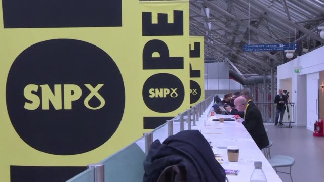 scottish first minister nicola sturgeon delivers the keynote speech at her scottish national party's annual conference and voices support for a... - keynote speech stock videos and b-roll footage