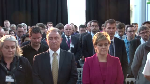 Scottish First Minister Nicola Sturgeon observes a minute's silence for the victims of the Grenfell Tower fire as the death toll rises to 79