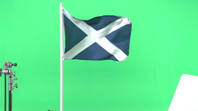 Scottish flag on green screen