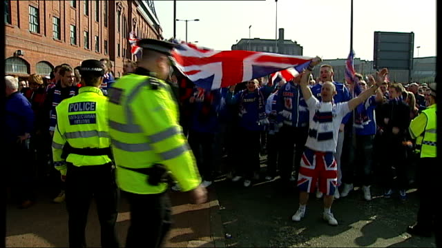 scottish football association takes action against rangers football club date ibrox various shots of rangers fc fans protesting outside stadium and... - body adornment stock videos and b-roll footage