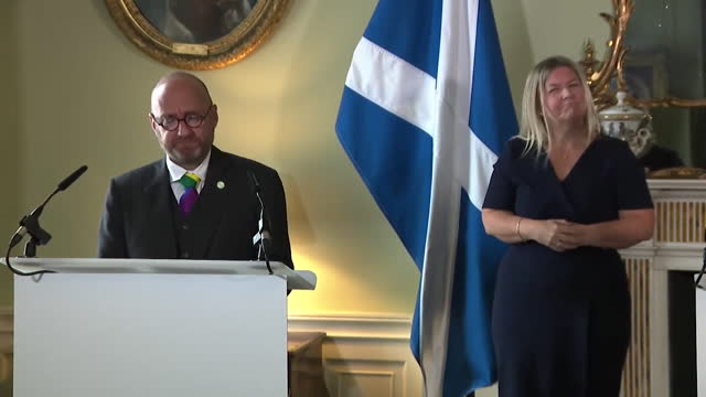 """scottish green party co-leader patrick harvie saying """"there is no reason we can't cooperate"""" after striking a formal partnership with the snp - coworker stock videos & royalty-free footage"""