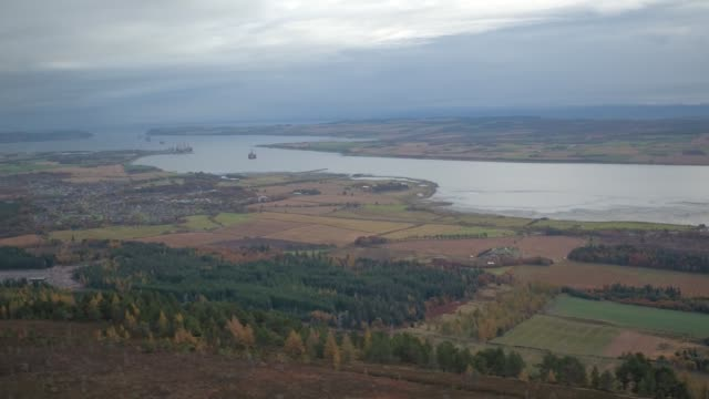 scottish highlands windmills drone view - inverness scotland stock videos & royalty-free footage