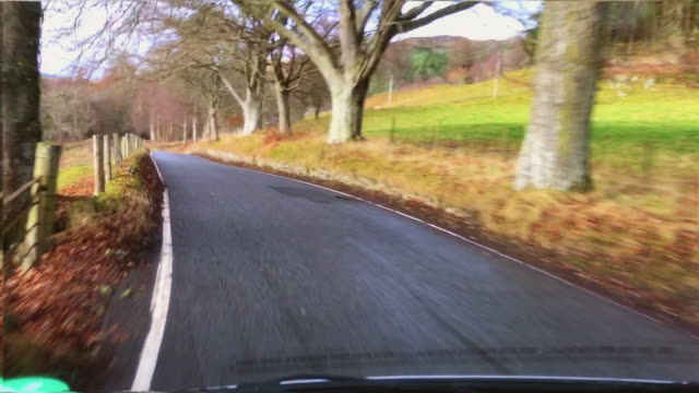 scottish hillside drive to queens view - single track stock videos and b-roll footage