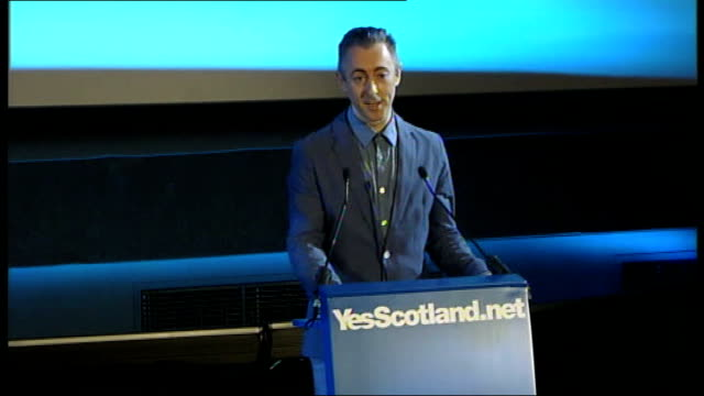 alex salmond launches 'yes scotland' campaign **beware alan cumming speech sot the world is waiting for us and i know scotland is ready thank you - alan cumming stock videos and b-roll footage