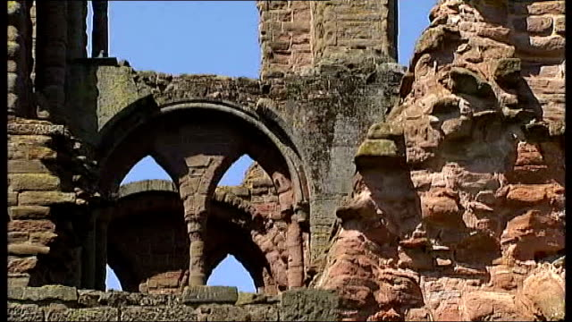 alex salmond launches 'yes scotland' campaign scotland arbroath ext various gvs of remains of arbroath abbey close shots of medieval seal document on... - abbey stock videos & royalty-free footage