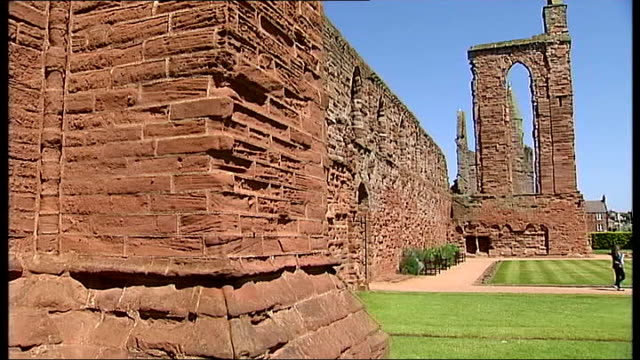 alex salmond launches 'yes scotland' campaign arbroath gvs ruins of arbroath abbey - abbey stock videos & royalty-free footage